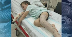 Daniel Super, three, was hospitalised after stepping on a tiger snake. Photo: 7News