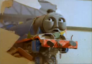Oops! Gordon crashes through the wall of a new station